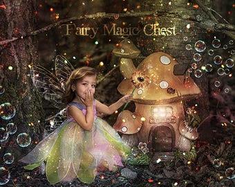 Digital Backdrop / digital background / prop for photo , children portrait , fairies forest , enchanted fantasy house, bubbles and sparkles