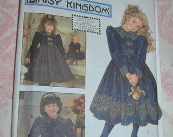 "Simplicity 7788 Daisy Kingdom Childs Dress and Doll Cothes for 17"" Doll  Sewing Pattern UNCUT Size 3 4 5 6"