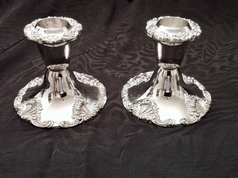 Godinger Baroque Silver Plate Candle Holders (set of 2) & Godinger Baroque Silver Plate Candle Holders (set of 2 ...