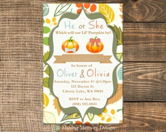 Pumpkin Gender Reveal Invitation