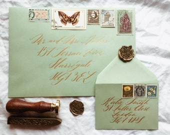 Hand addressed envelopes with vintage postage stamps and optional wax sealing