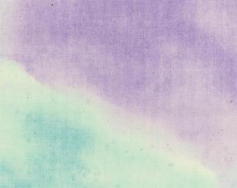 Lecien Milka Double Gauze - Japanese Fabric -  Green Purple Galaxy -  Watercolor with Metallic - Cotton - Aqua Light Weight Summer Fabric