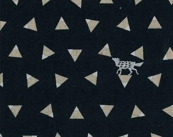 Japanese Linen Canvas - Kokka Fabric - Echino 2018 Triangle in Black - Metallic Canvas Fabric - Half Yard (about 50cm) Pre Cut