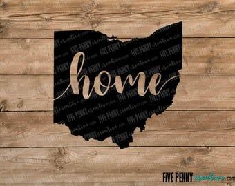 Ohio Home State (SVG, PNG, EPS, Cricut, Silhouette, cutting file, vector file)  |  Love Ohio  |  Buckeye State  |  Ohio Pride