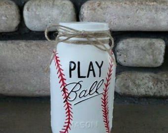 Baseball Painted Mason Jars Baby Boy Nursery Baseball