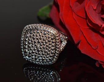 Estate Vintage Diamond Square Cluster Ring, Diamond Statement Ring, Anniversary Ring, Estate Diamond Ring, Silver Diamond Ring, Jewelry