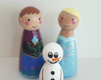 Frozen Peg Dolls - Elsa Anna and Olaf