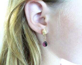 Watermelon Tourmaline earrings Tourmaline gold filled earrings tourmaline jewelry gemstone earrings gift for her Bi-color Tourmaline dangle