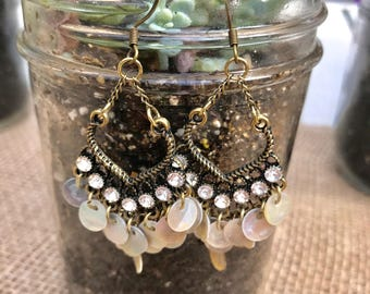 Antiqued Brass and Shell Earrings