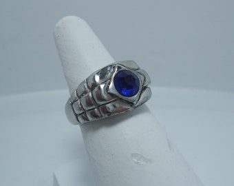 Blue Stone Ring - Silver Men's Ring - Blue Stone - Rolex Ring - Men's Ring - Gothic Men's Ring - Silver Gothic Ring - Ring With Stone