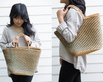 Large Woven Straw Market Bag with Green Details