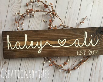 Name sign, wood sign, rustic sign, wedding gift,