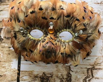 Brilliant pheasant feather mask, masquered, ball mask, mardi gras, costume mask, mask, feather mask