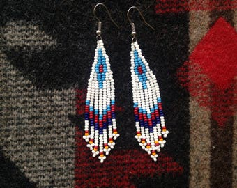 BURGUNDY  // BLUE beaded earrings