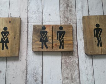 Handmade Rustic toilet signs set of 3 or individual.