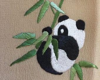 Vintage Silk Panda Handkerchief
