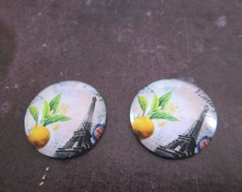 2 cabochons round glass 20 mm Eiffel Tower # 14