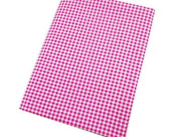 Pink gingham cotton, 50 x 50 cm