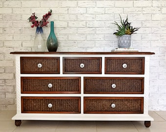 New Refurbished White Painted Cane Solid Timber Top Buffet Hall Side Table Large Dresser