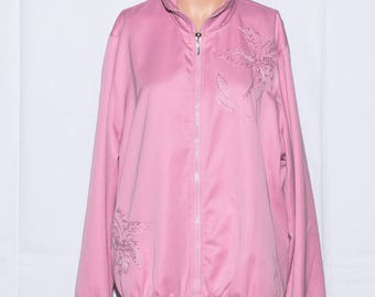 Windproof jacket,Womans jacket,Vintage jacket ,Pink Jacket, Active wear Jacket,Pocket jacket, Size L
