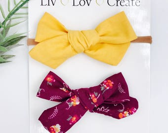 Baby Girl hand tied Bow  set- Nylon Headbands - Hair clip - Infant / Toddler /  Fabric Hair Bows / Clips -  mustard / fall plum floral