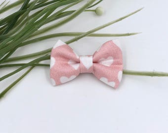 Baby Girl classic Bow Headband - Hair clips- Nylon Headbands - Infant / Toddler /  Fabric Hair Bows - pink with hearts
