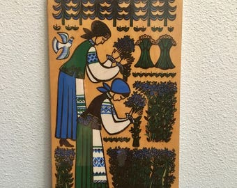 Slavic Folk Art on Wood / Harvest Scene / Slavic Women Harvest / Botanical Harvest Plaque