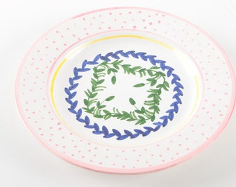 Pink Polka Dot Patterned Plate with Wreaths, Hand Painted  / Made in Portugal
