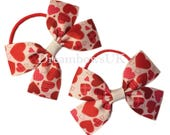 Red and white hearts design ribbon hair bows on thin bobbles, toddler hair bows on elastics, SALE bows and accessories, children's hair bows