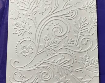 Fall leaves embossed blank note card DIY Ivory card, 5 cards/envelopes