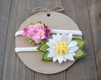 Felt Flower Headband / Infant Headband /Headband 2-pack