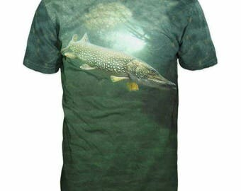 New Ultramodern 3D Printed High Quality Pike Fish Men's T-shirt