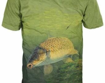 New ultramodern 3D  High Quality Carp Fish Men's T-shirt