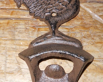1 Cast Iron ROOSTER Bottle Opener Country Beer / Soda Opener CHICKEN