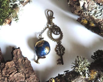 "Bronze bag charm and metal spirit ""Jules Verne"": Earth, key, gears"