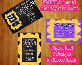 Digital Friends TV Show Birthday Invitations The One Where She He Turns Any Age Custom Personalized