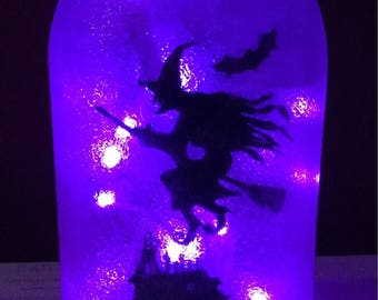 Witch and Haunterd House LED Mason Jar Light