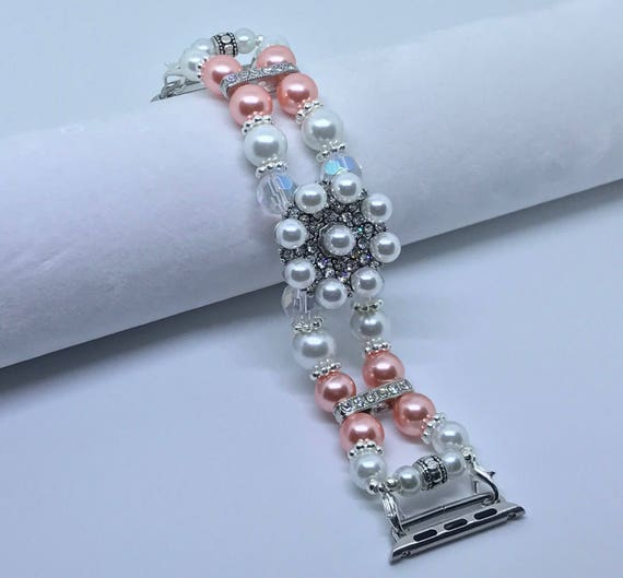 "Apple Watch Band, Women Bead Bracelet Watch Band, iWatch Strap, Apple Watch 38mm, Apple Watch 42mm, Coral Pink, White Faux Pearl 6 3/4"" - 7"""