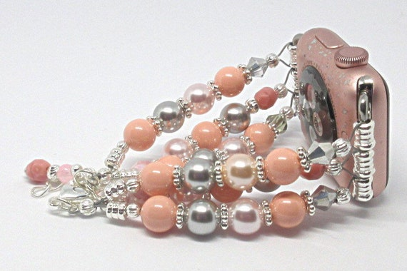 """Coral Pink Silver Pearl 6 1/2"""" to 7 1/2"""", ADJUSTABLE APPLE WATCH Band, Women Bead Bracelet, iWatch Strap, Apple Watch 38mm, 42mm (Cust"""