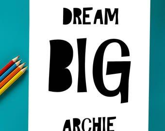 Dream Big Personalised Name Print | Nursery Art | Bedroom Art | Print | Sunshine and Giggles