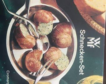 WMF CROMARGAN Schnecken Snail Set Tong, Fork, Plate SET# 06 6918 6040