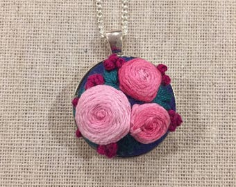 Embroidered Pink Rose Necklace