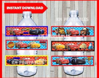 Printable Disney Cars 3 Water Bottle labels instant download, Cars 3 party bottle labels, Printable Cars Bottle labels