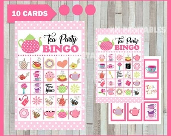 50 % off SALE Tea Party Bingo Game - Printable - 10 different Cards - Party Game Printable - Half Page Size - INSTANT DOWNLOAD