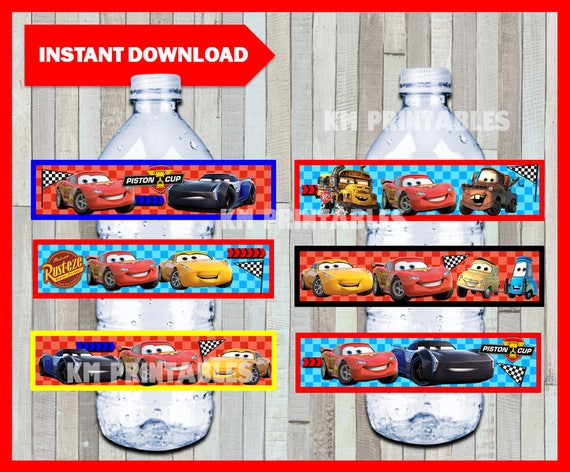 Printable Disney Cars 3 Water Bottle Labels Instant Download