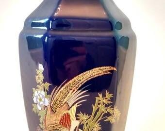 Vintage Cobalt Blue Vase /  Japanese Decor / Pheasant / Bamboo /  Blue Vase / Cobalt Blue Vase