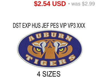 TODAY SALE 15% Auburn Tigers, Auburn University logo embroidery design / embroidery designs / INSTANT download machine embroidery pattern
