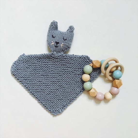 Toy cuddly Ned - handknitted - toy - baby - security blanket handknitted blue pima - workshop me cotton
