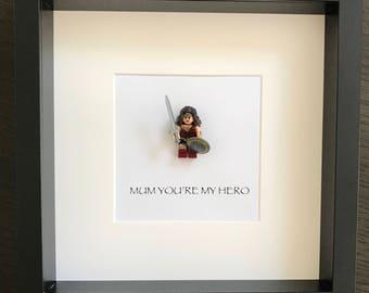 Wonderwoman LEGO 'Mum youre're my hero' frame