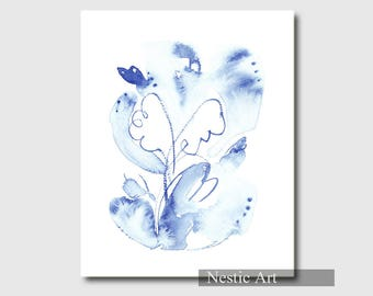 Wings, angel, blue , watercolor drawing, line art, printable art, 5x7, 8x10, 8.5x11, letter size, 11x15, instant download, Christmas